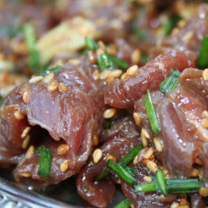 boeuf mariné au sésame et vinaigre de riz