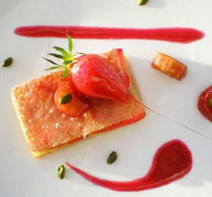 craquant de fraises et bonbons rhubarbe