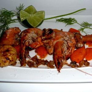 sucré-salé de saumon et crevettes