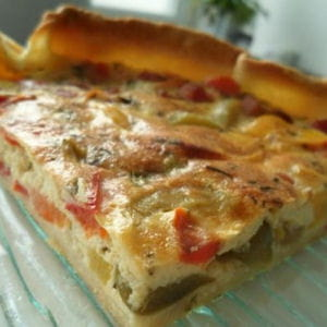 tarte aux poivrons, chvre et jambon 