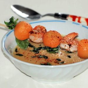 gaspacho de melon et sa brochette