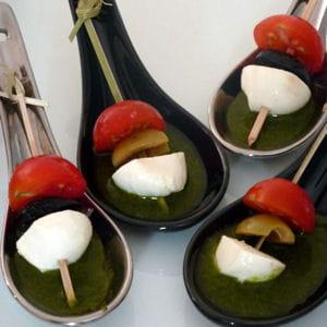 cuillère tomate, mozza, pesto