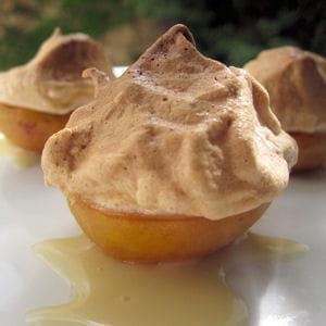 abricots meringués, sauce au miel