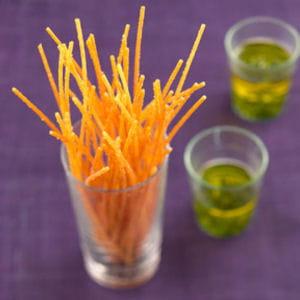 spaghettis frits au basilic