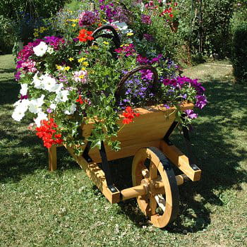 D co jardin brouette - Brouette decorative en bois pour plantes exterieur ...