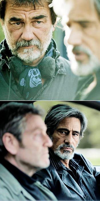 le cinéaste olivier marchal et l'acteur gérard lanvin sur le tournage du film