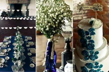 Un mariage vintage et bleu