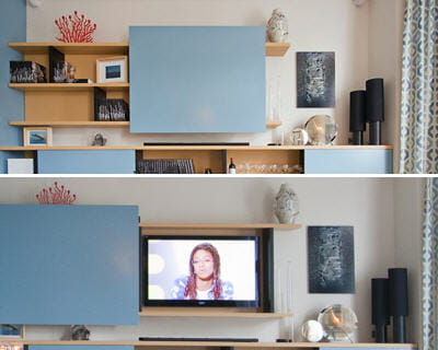 Meuble tv cach e table de lit - Meuble cache tele ...