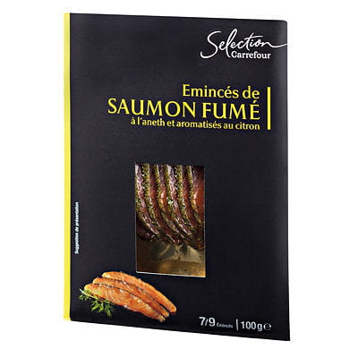 minc s de saumon fum l 39 aneth et aromatis s au citron de carrefour foie gras saumon. Black Bedroom Furniture Sets. Home Design Ideas