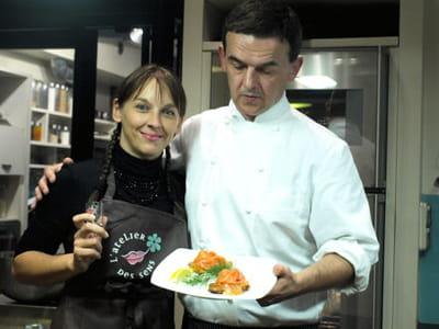 le chef nowak et hanna borys (hb service) coorganisatrice des cours de cuisine