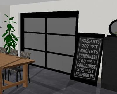 meuble de m tier et panneau de signalisation le relooking d 39 un s jour dans un style atelier. Black Bedroom Furniture Sets. Home Design Ideas