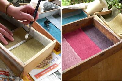 Fabriquez un présentoir à bijoux avec des tiroirs. 1049102-etape-4-collez-le-tissu