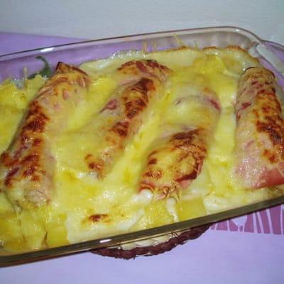 gratin de bananes, pommes de terre et jambon