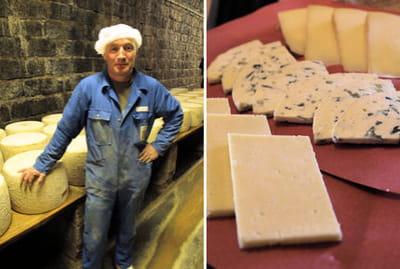 l'affinage du cantal se fait principalement en tunnel. le fromage est tranché