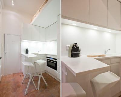 une cuisine dans l 39 entr e petite cuisine comment l 39 am nager journal des femmes. Black Bedroom Furniture Sets. Home Design Ideas