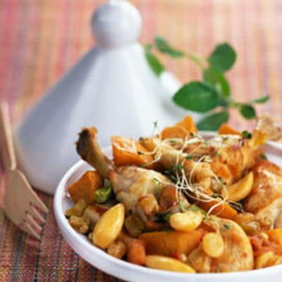 Tajine de poulet aux raisins et patates douces 25 recettes de plats uniques journal des femmes - Recette poulet patate douce ...