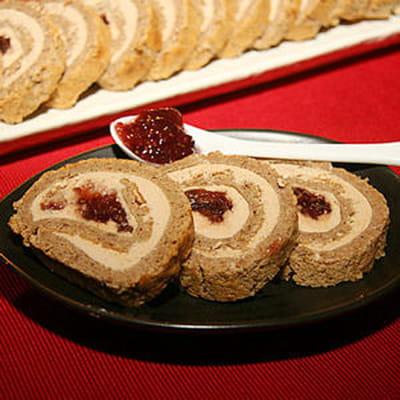 pain d'épices roulé et foie gras, confiture de figues