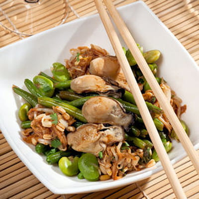 wok d'huîtres à la coriandre