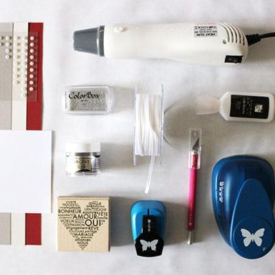 le matériel nécessaire à la confection d'une guirlande plan de table.