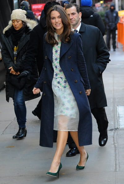 keira knightley wearing burberry outerwear in new york, 18 november 2014