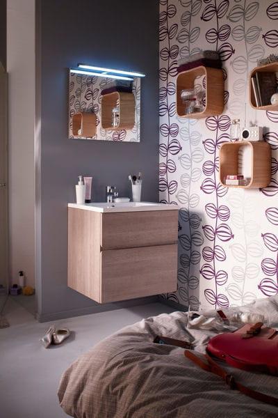 meuble vasque calao castorama le bon mobilier pour une petite salle de bains journal des femmes. Black Bedroom Furniture Sets. Home Design Ideas