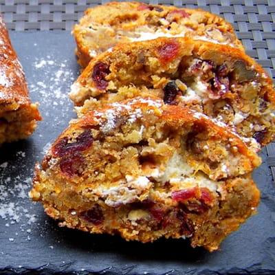 carrot cake roulé amandes, noix et cranberries