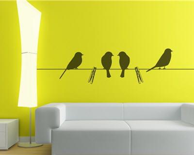 Place aux oiseaux les stickers font le mur journal for Stickers fil a linge