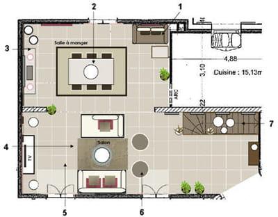 le plan propos par la d coratrice avant apr s une pi ce vivre devenue chaleureuse. Black Bedroom Furniture Sets. Home Design Ideas