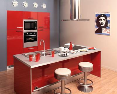 Gain de place un lot central pour se simplifier la - Ilot dans petite cuisine ...