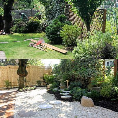 la cr ation d 39 un jardin japonais de a z jardin japonais un avant apr s tonnant. Black Bedroom Furniture Sets. Home Design Ideas