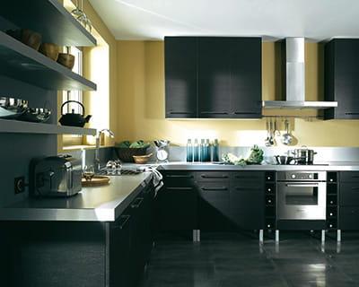Effet noir 25 cuisines dans tous les styles journal for Poignees cuisine castorama