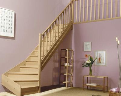 En bois exotique les escaliers font la d co journal des femmes - Escalier demi tournant leroy merlin ...