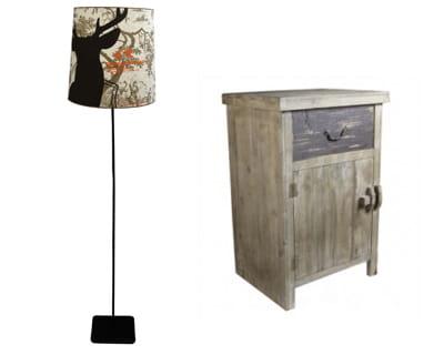 Partie de chasse a chaque table de chevet sa lampe for Table de chevet en bois flotte