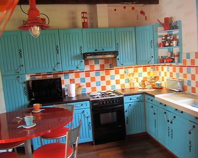 Bleu turquoise avant apr s vos cuisines relook es - Photos cuisines relookees ...