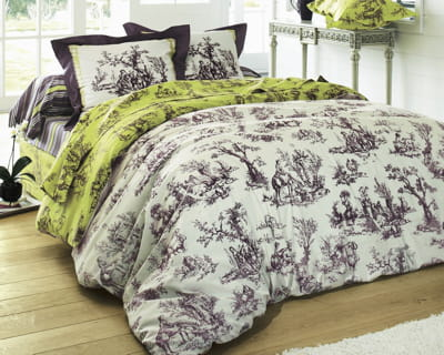fa on toile de jouy une chambre dans de beaux draps journal des femmes. Black Bedroom Furniture Sets. Home Design Ideas