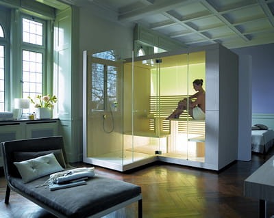 le sauna domicile pause d tente dans la salle de bains journal des femmes. Black Bedroom Furniture Sets. Home Design Ideas