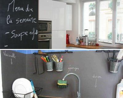 dans la cuisine focus sur la peinture ardoise journal des femmes. Black Bedroom Furniture Sets. Home Design Ideas