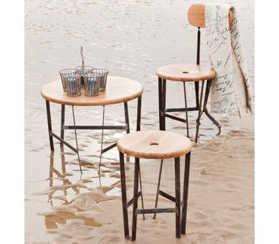 Table basse ronde et tabourets en ch ne et acier de chehoma je veux un style atelier dans mon - Chehoma table basse ...