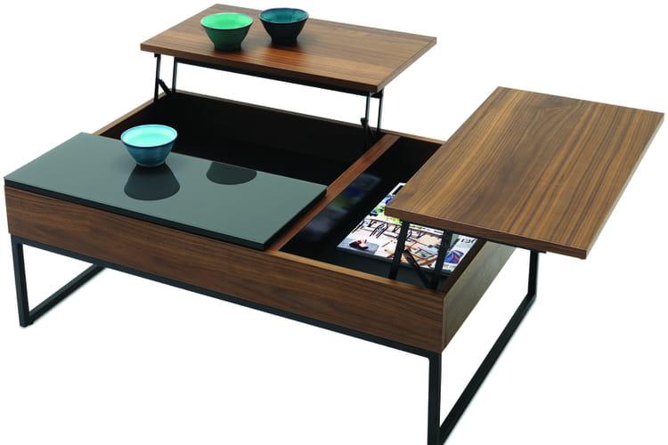 Table basse avec espace bar for Table basse bo concept