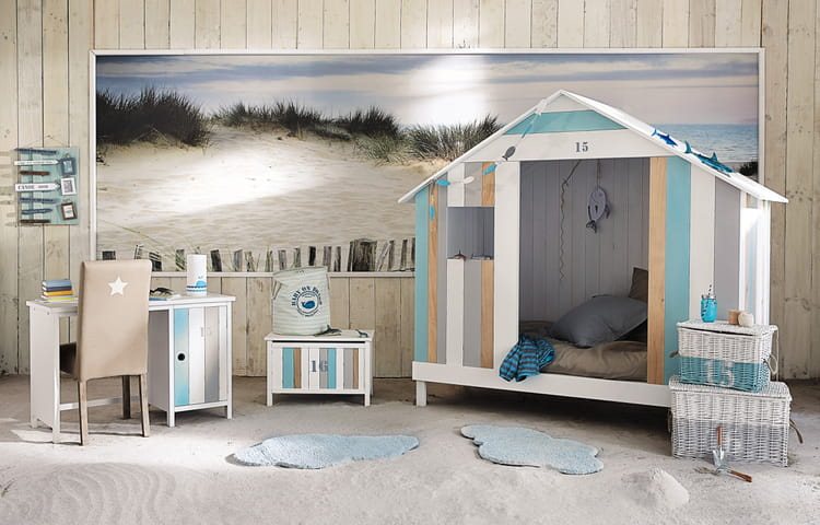 lit cabine de plage maisons du monde. Black Bedroom Furniture Sets. Home Design Ideas