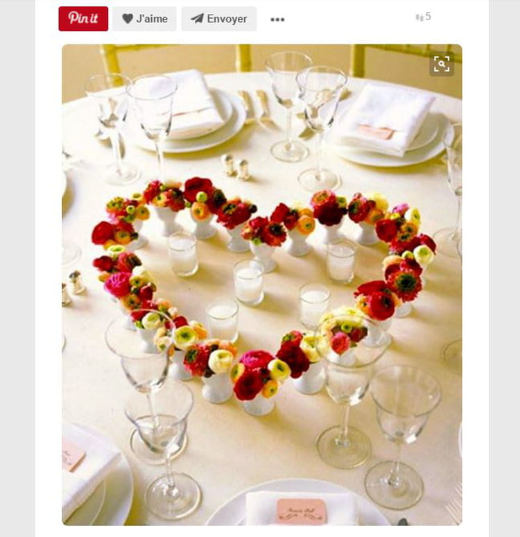 Centre de table c ur en roses saint valentin 14 - Pinterest centre de table ...