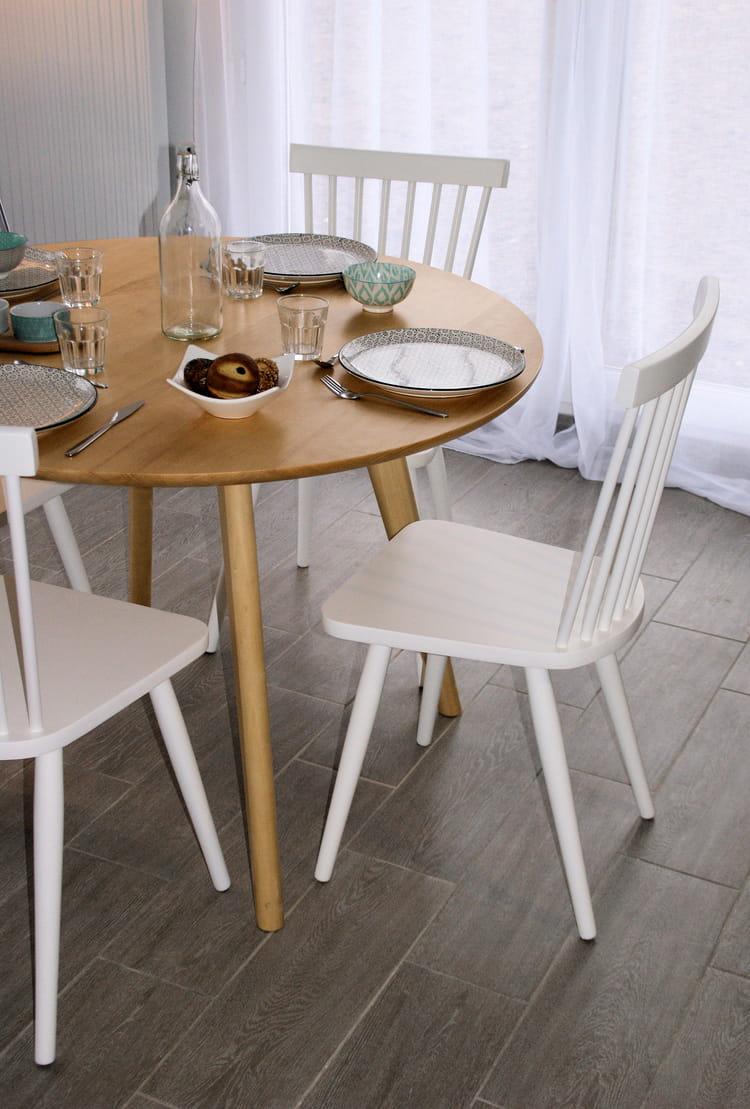 salle manger bois et blanc. Black Bedroom Furniture Sets. Home Design Ideas