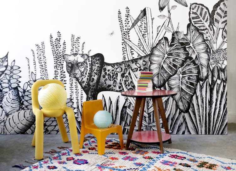un papier peint jungle noir et blanc. Black Bedroom Furniture Sets. Home Design Ideas