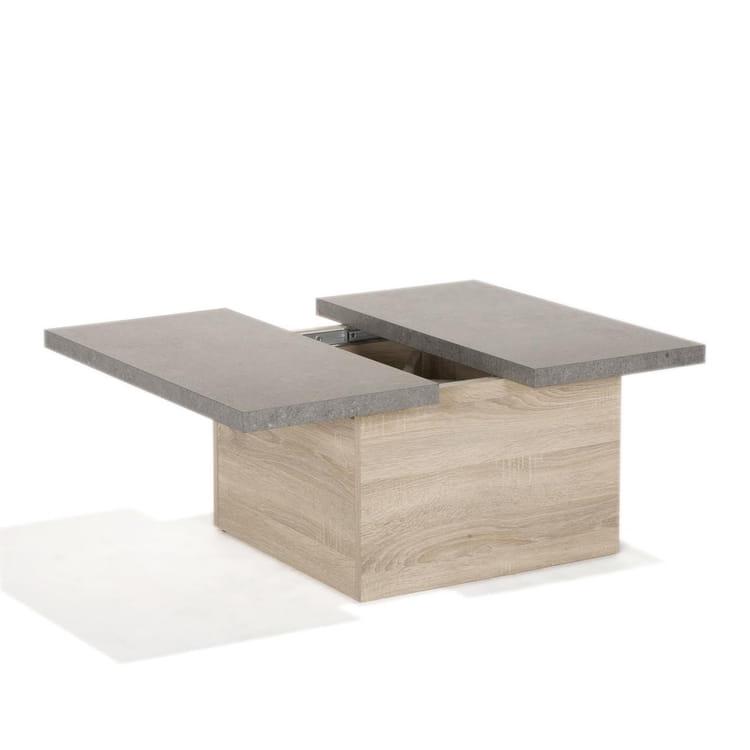 Table basse grise effet beton - Table basse rangements ...