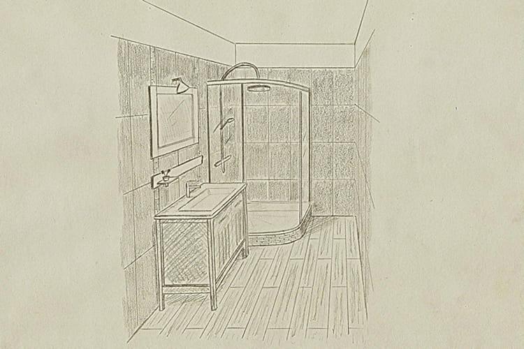 Le croquis de la salle de bains avant apr s un studio for Croquis de salle de bain