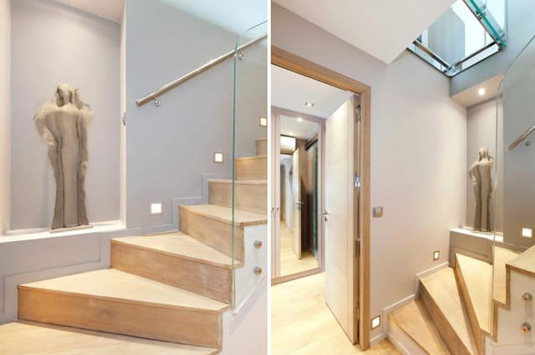 Un escalier tr s d co un duplex chic et moderne aux notes acidul es journal des femmes for Image escalier moderne