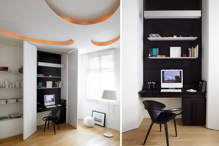 un bureau cach modernisation chic dans un grand appartement journal des femmes. Black Bedroom Furniture Sets. Home Design Ideas