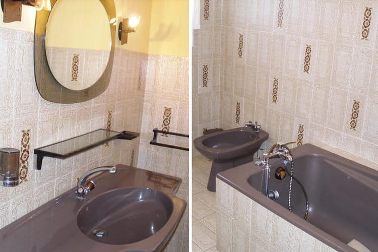 La salle de bains de dominique avant avant apr s des - Papier peint salle de bain zen ...