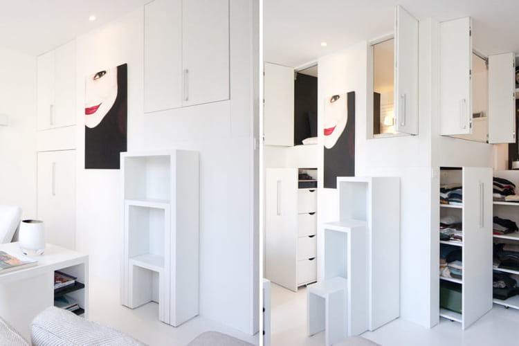 une mezzanine placard tr s maline des rangements astucieux et patants journal des femmes. Black Bedroom Furniture Sets. Home Design Ideas
