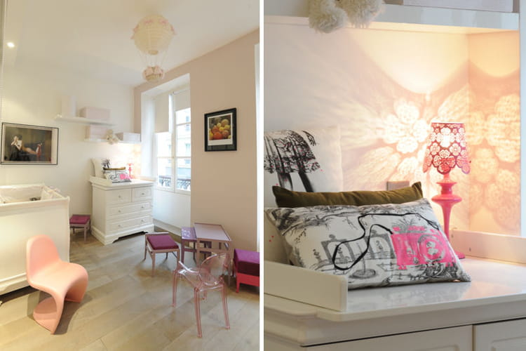 d cor en rose pour la chambre de petite fille. Black Bedroom Furniture Sets. Home Design Ideas